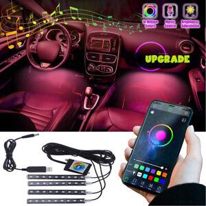 4PCS 36 LED Car Interior Atmosphere Light Strip Under Dash Music Phone Control