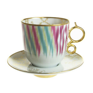Hermes Mug Cup Tall Saucer Voyage en Ikat Tableware Ornament Porcelain Auth New