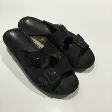 Womens La Plume Jen Italy Black  Nubuck Leather Wedge Slides Sz 7.5 Buckles