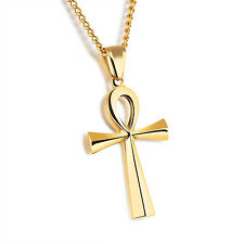 Men Silver Gold Black Stainless Steel Ankh Cross Pendant Necklace Chain 24""