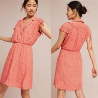 Anthropologie Maeve Carllota Shirt Dress Size Small S Orange 1930's Ruched Frock