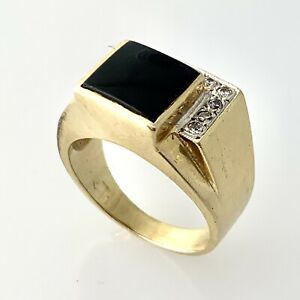 Black Onyx & Diamond Signet Ring For Men Size 10 in 14K Solid Yellow Gold