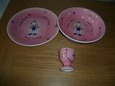 WHITTARD OF CHELSEA GIRLS CHEEKY FAIRY PLATE BOWL & EGG CUP PINK & PURPLE