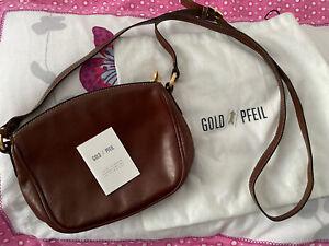 Gold Pfeil Leather Handbag, Cross The Body Shoulder Bag.  Brand New. Brown