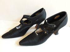 Vintage 1920s Black Satin Shoes Flapper T Straps Narrow