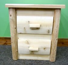 Premium Log Nightstand 2 Drawer - $319 - Dovetail Drawers, Free Shipping