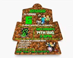 Personalised Mine Craft  Party Invitations. Invite & Envelope in one PK 10