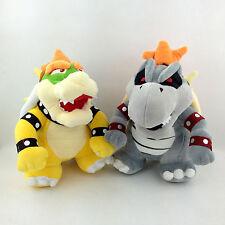 "2X Super Mario Bros King Dry Bowser Bones Skeletal Koopa Boss Soft Plush Toy 9"""