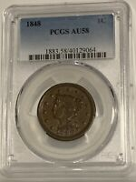 1848 Large Cent 1c Braided Hair PCGS AU58