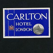 Carlton Hotel LONDON UK Great Britain * Old Luggage Label Kofferaufkleber