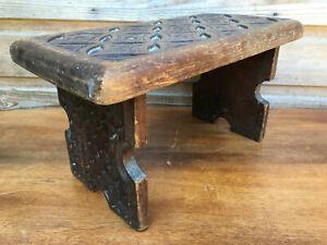 Antique Folk Art Solid Oak Celtic Hand Carved Seat Foot or Milking Stool 1900s