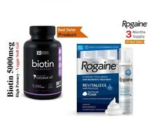 3 Months Supply Men's Rogaine 5% Minoxidil Foam + BIOTIN 5000iu ,120 Softgel