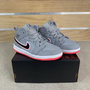 Nike Air Jordan 1 Mid Wolf Grey/Black-Racer Pink Girls Size 10c New 644507-060