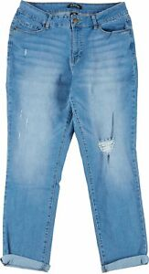 D. Jeans Womens Recycled Girlfriend Cuffed Denim Jeans