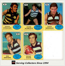 RARE-1972 Scanlens VFL Trading Card Full Team Set Geelong (5)--EXCELLENT