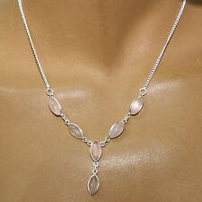 ROSENQUARZ-COLLIER, ECHT SILBER-925,Kette- Halskette, Indien Rosa