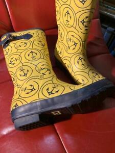 LL Bean Wellie boots yellow with navy anchor print Good Rain Muck boots 10 L@@k!