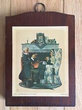 "Norman Rockwell Vintage Wooden Plaque ~ ""Gaily Sharing Vintage Times"""