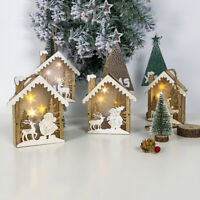 CHRISTMAS WOODEN CABIN LIGHT UP ORNAMENTS HANGING XMAS TREE  MARKET DECORATION