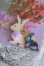 Bunny Rabbit Brooch Pin Wooden Wood Rockabilly Retro Rabbits & Rose Brooch Pin