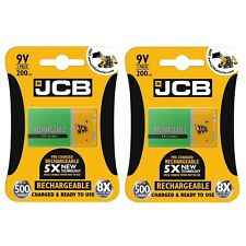 2 x JCB 9V 200mAh Rechargeable Ni-MH Battery Pre-Charged High Capacity PP3
