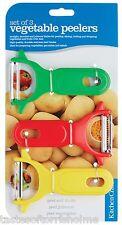 Kitchen Craft Juego de 3 VEGETAL, Patata & Fruta en juliana RÁPIDO Peladoras
