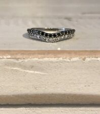 14K White Gold Black and White Diamond 2 Row Wedding Band or Stackable Band