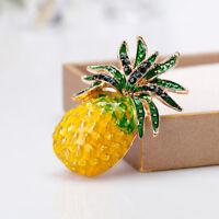Cute Women Rhinestone Pineapple Fruit Shape Enamel Brooch Pin Fashion Jewelry