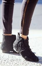 Anthropologie Free People Black Distressed Suede Decades Boots EU 37 6.5 7 $178
