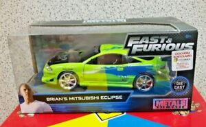 Jada 97603 Fast & Furious Mitsubishi Eclipse 1995 Brian's verde lime 1:24 Modell