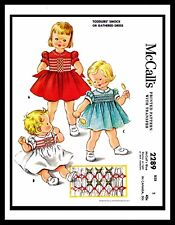 McCall's 2289 Sewing Pattern Vintage SMOCK Gathered Dress Frock GIRL TODDLER ~2~