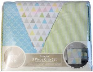 Trend Lab Triangles 3 Piece Crib Bedding Set Quilt/Crib Skirt/Sheet Blue/Green