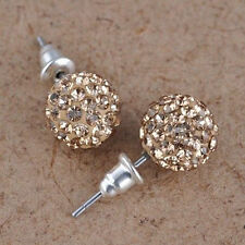 Austria Crystal Shiny Pave Disco Clay Ball Beads 10 mm Ear Stud Earrings Gifts