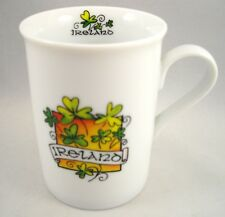 "Coffee Mug Cup Ireland Good Luck Shamrocks Irish Porcelain by Allieo 4"" Tall"