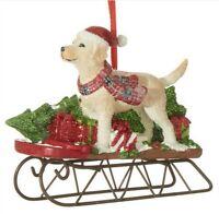 RAZ Christmas Ornament YELLOW LAB DOG w/ Red Scarf on SLED Polyresin / Metal