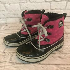 Sorel Tivoli Women's Size 6 Pink & Black Winter Snow Boots i4s