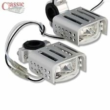 Motorcycle Spot/Fog Auxiliary Lights Square Clear Glass Pair