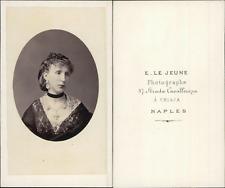 Le Jeune, Naples, jeune femme  CDV vintage albumen Tirage albuminé  6,5x10,5