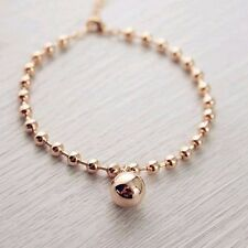 Stunning 18K Rose Gold Filled Women 12MM Round Ball Beads pendant Charm Bracelet