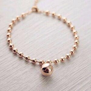 18K Rose Gold Filled Women 12MM Round Ball Beads pendant Charm Bracelet Stunning
