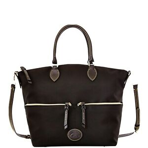 Dooney & Bourke Handbag Nylon Large Pocket Satchel Tote Black Black