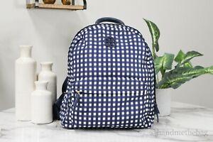 Tory Burch 55113 Ella Medium Nylon Royal Navy Check Shoulder Backpack Bookbag