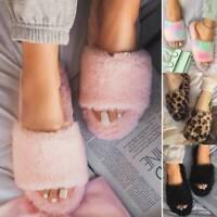 Frauen Kunstpelz Pantoffeln Hausschuhe Sandalen Plüsch Schlappen Slippers Schuhe
