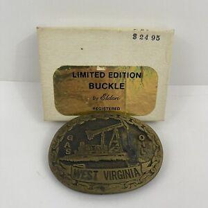 West Virginia Gas Oil Belt Buckle Eldon 1st Edition Buckle Of America With Box