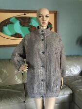 Vintage 80's Pink Gray Chevron Wool Coat Jacket Union Made USA Woman's Petite L