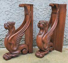 Pair All Carved Oak Wood Gargoyle Griffin Winged Lion Pediments Parts