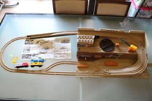 Hot Wheels Railroad Freight Yard Stow & Go Train Set Take Along Used PLEASE READ