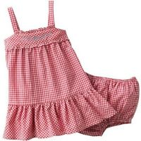 Chaps by Ralph Lauren Baby Girl Dress Bloomers Set Red White Gingham Newborn 3mo