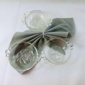 Dessert Bowls Glass Fruit Design on Bottom Bubble Handles Set of 4