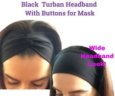 US Headband With Buttons For Face Mask Nurses/Doctors Women's Turban Hair Wrap